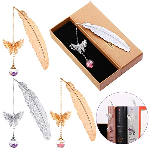 4 Pieces Metal Feather Bookmarks, Student Reading Page Markers Bookend Pendant Bookmark Beautiful Metal Bookmark with 3D Butterfly and Glass Bead Dried Flower Pendant for Readers, Women and Children