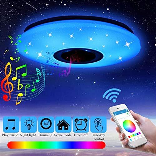 WXJZ Luces de Techo, Bluetooth LED Lámpara de Techo RGB Regulable Luz de Techo LED Inteligente Music Dormitorio Luz App Control Remoto 85-265v