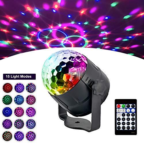 AOGUERBE Luz de Escenarios, Mini Lámpara de Etapa Luces de Discoteca Sonido Activado RGB LED Disco Bola Mágica Luces [Control Remoto] Iluminación para KTV Bar [2019 última Versión 15 Colores]