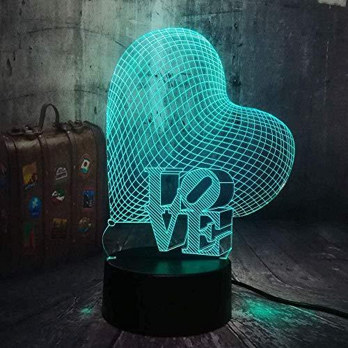 Boutiquespace Nuovo Natale 3D Amore Cuore Led Night Light Romantico Atmosfera Lampada Da Tavolo Decorazione di Nozze Amante Coppia Fidanzata Regalo