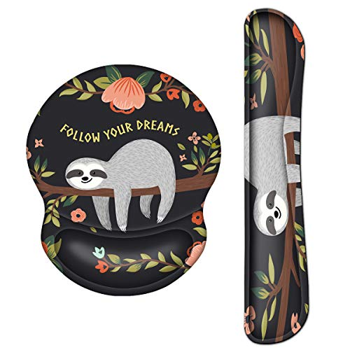 ArtSo Upgraded Wrist Rest Support for Mouse Pad & Keyboard, Ergonomic Gel Mousepad Non-Slip Rubber Base Home ,Office Pain Relief, Easy Typing Cushion with Neoprene Cloth, Soft Memory Foam, Cute Sloth