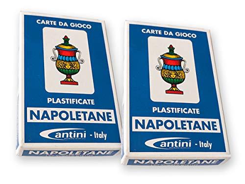 LEDLUX 2 Confezioni Carte da Gioco Napoletane ,Giochi da Tavolo, Carta Gioco Regionale Italiano