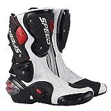 MRDEAR Botas de Moto de Cuero, Botas de Motocross Impermeables Botas Deportivas Moto Hombre Mujer Adulto con Protección de Tobillo/Ventilación Ajustable, Blanco y Negro (43 EU)