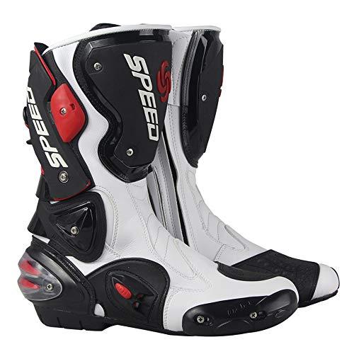 MRDEAR Botas de Moto de Cuero, Botas de Motocross Impermeables Botas Deportivas Moto Hombre Mujer Adulto con Protección de Tobillo/Ventilación Ajustable, Blanco y Negro (41 EU)