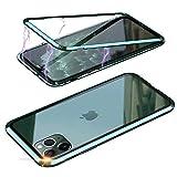 Jonwelsy Cover per iPhone 11 (6,1 Pollice), Forte Tecnologia di Adsorbimento Magnetico con Bumper in Metallo, Ultra Sottile Custodia Posteriore in Trasparente Vetro Temperato Case (Verde)