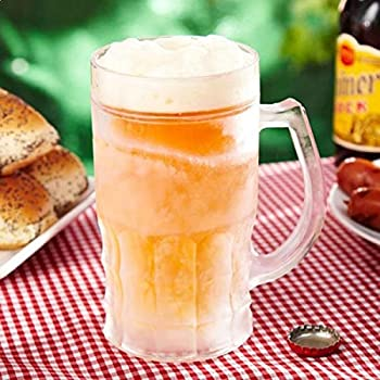 Jarra de cerveza refrigerado doble pared Transparente: Amazon.es ...