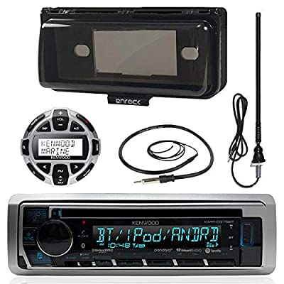 "Kenwood Marine Boat Stereo Receiver CD Player Bundle Combo W/Protective Cover + Wired Remote Control + Enrock Water Resistant 22"" Radio Antenna + Outdoor Rubber Mast 45 Antenna"