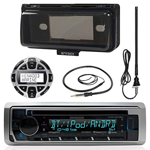 """Kenwood MP3/USB/AUX Marine Boat Stereo Receiver CD Player Bundle Combo W/ Protective Cover, Wired Remote Control, Enrock Water Resistant 22"""" Radio Antenna, Outdoor Rubber Mast 45 Antenna"""