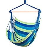 Ankwell Hammock Chair Hanging Rope Swing Seat - Max 330 Lbs - Quality Cotton Weave for Indoor or Outdoor Spaces (Green-Blue)
