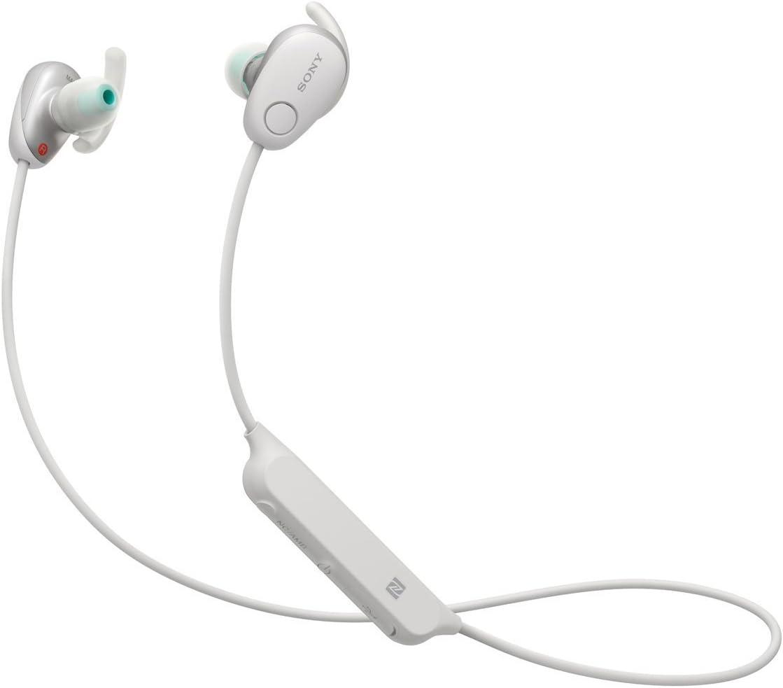 Sony SP600N Wireless Noise Canceling Sports In-Ear Headphones, White (WI-SP600N/W)
