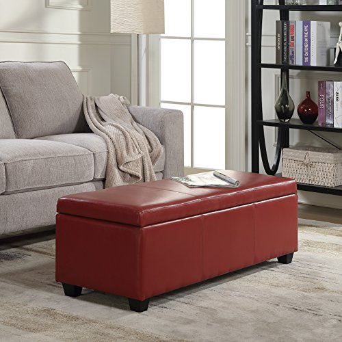 """BELLEZE 48"""" inch Ottoman Bench Top Storage Living Room Bed Home Leather Rectangular, Red"""