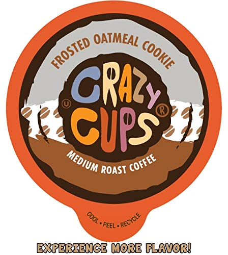 Crazy Cups Flavored Coffee for Keurig K-Cup Machines, Frosted Oatmeal Cookie, Hot or Iced Drinks, 22 Single Serve, Recyclable Pods