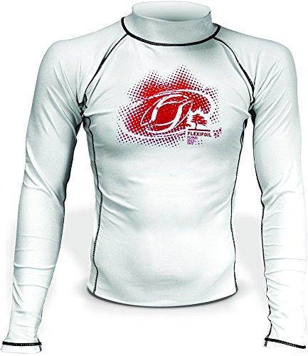 T-shirt rashguard thermique à manches longues en lycra blanc pour homme, idéal pour la natation, la plongée, le kitesurf et le surf - Blanc - Small