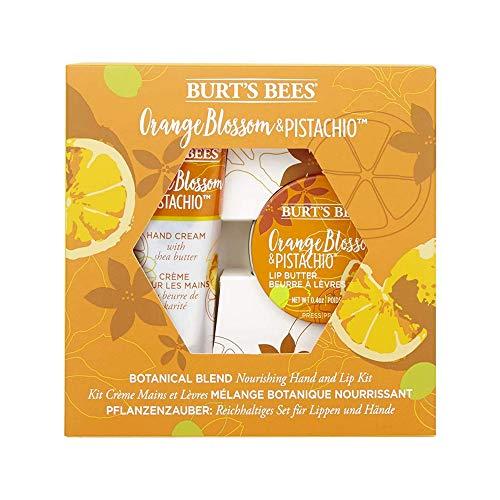 Burt's Bees Pflanzenzauber 2-Teiliges Pflegendes Handcreme Und Lippenpflege Set Orangenblüte & Pistazie, 71 G