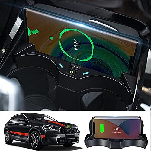 Almohadilla Carga inalámbrica vehículo,para BMW X1/X2 2020-2021 Cargador inalámbrico para automóvil,Qi 15W MAX Tablero Carga inalámbrica automóvil con Alfombrilla Carga inalámbrica teléfono QC3.0 USB