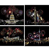 Arte Cero, 4PCS A4 Ciudad Escena Escena Nocturna Pintura Cero, La Descompresión de Los Niños Regalos Hechos A Mano de Bricolaje Creativo de Dibujo (Color : Brilliant fireworks)