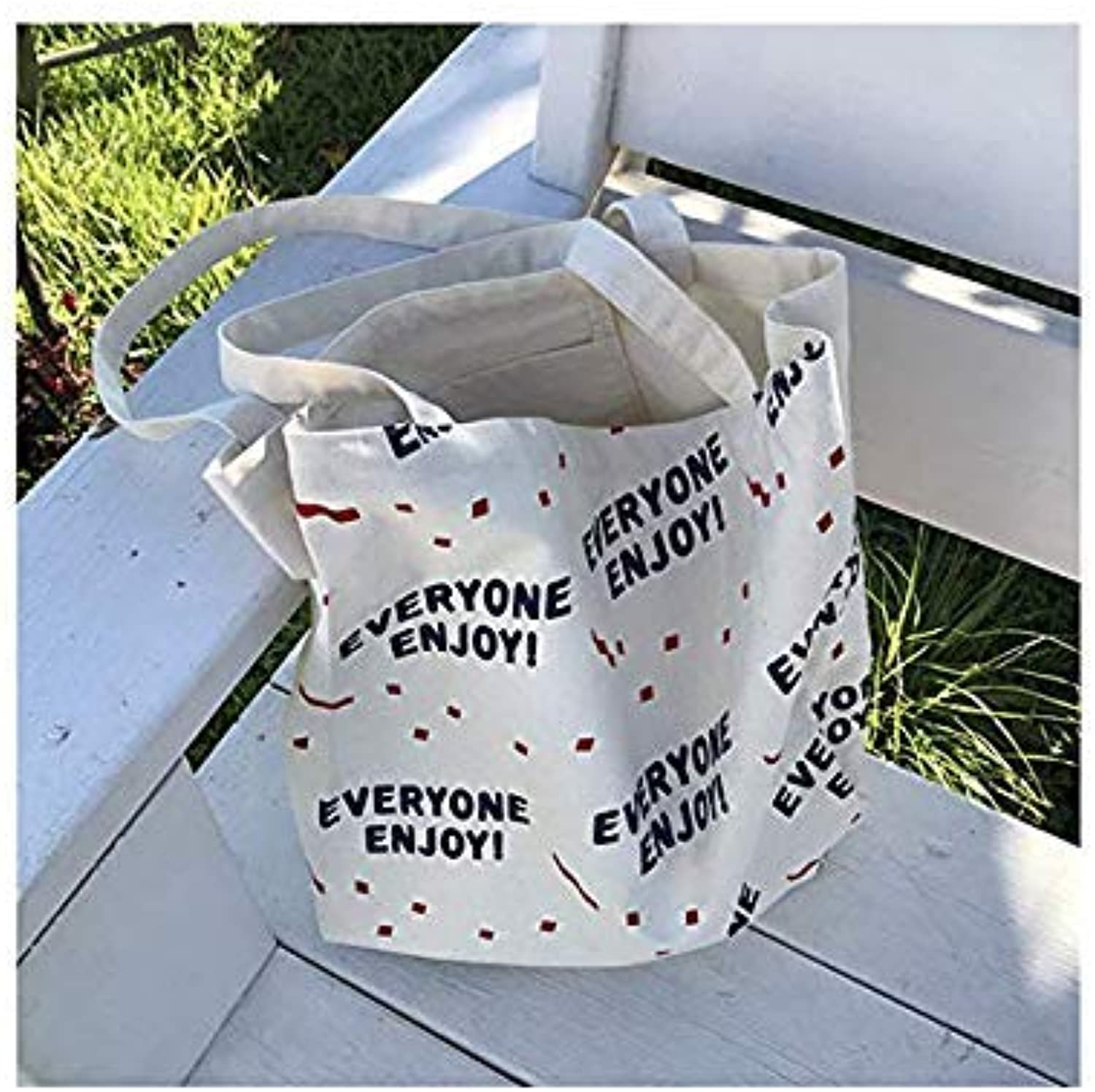 Bloomerang YILE Open Print Everyone Enjoy Cotton Canvas Eco Shopping Tote Shoulder Bag E90SBB