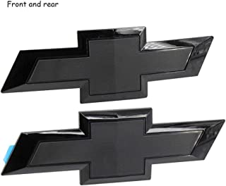 Cardiytools Full Black Front & Tailgate Bowtie Emblem for 2016-2019 GM Chevy Silverado 1500