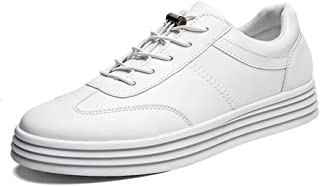 RongAi Chen Fashion Sneakers for Men Skate Shoes Lace Up Synthetic Leather Lightweight Breathable Outdoor Anti Slip Sport Casual Round Toe (Color : White, Size : 8 UK)