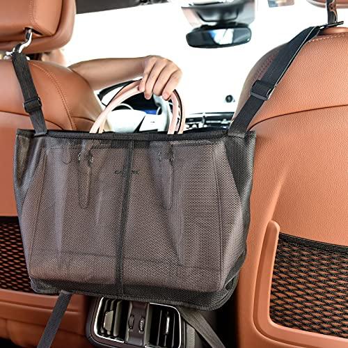 WARMQ Car Handbag Purse Holder Between Seats - Upgraded Handbag purse Holder for Car - Large Capacity car net pocket Handbag holder - Car Pet Barrier for Safety Driving
