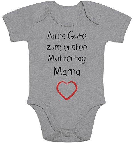 Shirtgeil Alles Gute zum ersten Muttertag Mama Herz - Baby Geschenk für Mutter Baby Strampler Body Kurzarm 12-18 Monate Grau