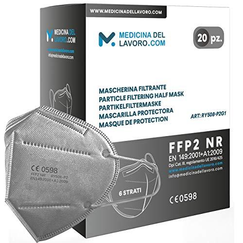 20 Mascarillas FFP2/KN95 Colores Gris Homologadas Certificación CE sin Válvula de 6 Capas, Máscara Protectora de Polvo, Mascarilla de Protección Personal con Filtros de Calidad BFE≥95, 20 Piezas
