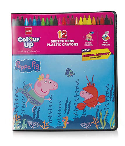 Cello Colourup Peppa Pig Colouring Kit 12 Sketch Pens, 12 Plastic Crayons, Peppa Pig Stencil Hobby Stationery for Kids and Art Lovers (cel1011937)