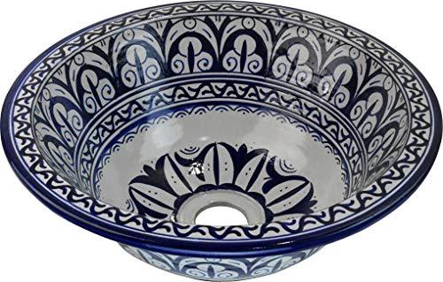 Orientalisches handbemaltes Keramik Waschbecken - Seville - Gemalt innen heraus Di 40 H 16 cm