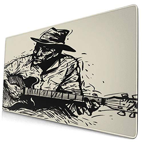 """Nettes Mauspad ,Ein Musiker mit einem Gitarrenhut und einer Zigare,Rechteckiges rutschfestes Gummi-Mauspad für den Desktop, Gamer-Schreibtischmatte, 15,8 \""""x 29,5\"""""""