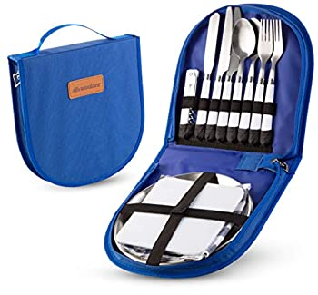 Camping Silverware Kit Cutlery Organizer Utensil Picnic Set - 12 Piece Mess Kit For 2 - Stainless Steel Plate Spoon Butter and Serrated Knife Wine Opener Fork Napkin Hiking - Camp Kitchen BBQ's  Blue