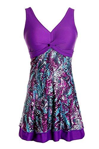 Ecupper Damen Badekleid Gepolstert Badeanzug mit Shorts Einteiler Blumen Muster Schwimmkleid Große Größen Violett XL
