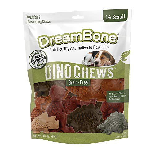 DreamBone Small DinoChews 14 Count RawhideFree DinosaurShape Treats For Dogs