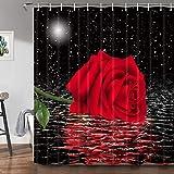 JAWO Duschvorhang mit Rosenmotiv, rote Rose unter dem Mond, schwarzer Sternenhimmel, dekorativer Badezimmervorhang, maschinenwaschbar, strapazierfähiges Polyestergewebe, 175 x 178 cm