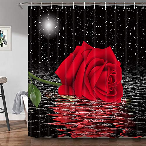 JAWO Floral Rose Shower Curtain, Red Rose Flower Under Moon Black Starry Sky Decorative Bathroom Curtain Machine Washable Durable Polyester Fabric 69x70 Inches