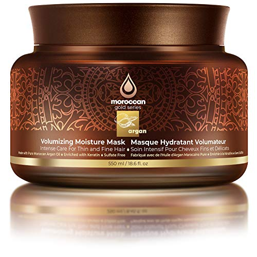Moroccan Gold Series Volumizing Moisture Mask – Deep Conditioning and Volumizing Argan Oil Hair Mask Enriched with Keratin – Sulfate Free Thickening Hair Repair Mask for Bouncy and Shiny Hair, 18.6oz