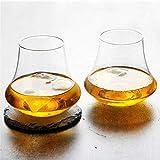 Home+ Vasos de Whisky, Tulipán del Borde Ancho del Whisky Vaso De Whisky De Cristal del Alcohol del Licor De Cristal (Capacity : 340ml, Color : 2 Pcs)