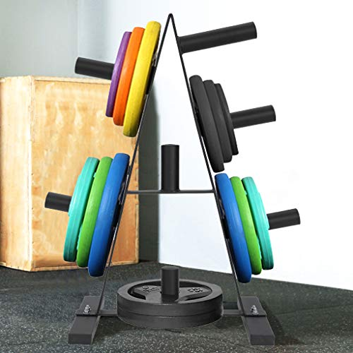 Addosd Olympic Weight Plate Rack, Home Weightlifting Bench, Weight Plate Tree Storage Rack 2 inch for Dumbbell Bumper Plates Free Weight Stand for Home Gym (Black)