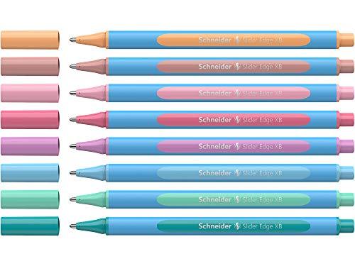 Schneider Slider Edge Pastell XB Kugelschreiber (Dreikant-Stifte mit Strichbreite XB) 8 Stück sortiert