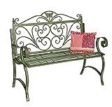 DanDiBo Banco de jardín de metal resistente a la intemperie, patina, verde, 120 cm, 2 plazas, 96021