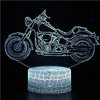 3Dコントロールランプオートバイナイトライト子供用3Dイリュージョンランプ、7色変更、男の子の女の子のためのホリデーバースデーギフトとしての子供の寝室の装飾
