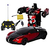 Transformador Robot Modelo de Auto, 1: 12niños juguete Bugatti Transformers Robot RC Auto Vehículos elektroauto Modelo con mando a distancia regalo para niño, Rojo