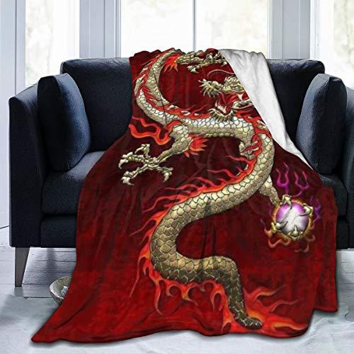 ghkfgkfgk Brennendes loderndes Feuer-chinesischer Drache-Vlies-Decken-Charakter-Ausgangsflanell-Vlies-weiche warme Plüsch-Wurfs-Decke für Bett/Couch/Sofa/Büro/das Kampieren 60X50 Zoll