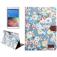 保護カバーケース Samsung Galaxy Tab S2 9.7 / T815用ホルダー&カードスロット&財布とフラワーパターンの布の表面PUレザーケース (色 : Blue)