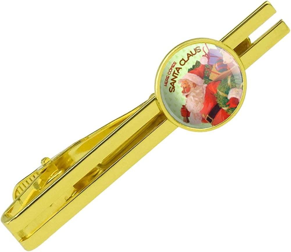 GRAPHICS & MORE Christmas Holiday Here Comes Santa Claus Graphic Round Tie Bar Clip Clasp Tack Gold Color Plated
