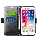Coque Portefeuille iPhone 7 Plus, Coque Rabat iPhone 8 Plus, Housse Clapet iPhone 7 Plus, Étui...