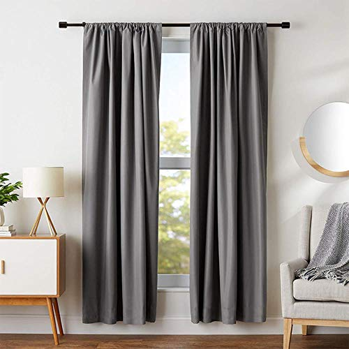 PENVEAT Modern Blackout Curtains For Living Room Bedroom Window Treatment Blinds Solid Finished Window Blackout Curtains Panel,Grey,W200xL270cm,3.Pull Pleated Tape