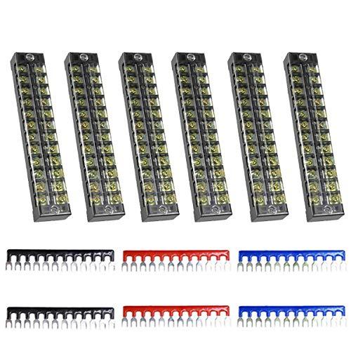 Youmile 6Pack morsettiera 600V 15A doppia fila 12 posizioni TB2512 morsettiera a vite barriera + ponticello isolato