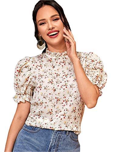 Romwe Women's Elegant Floral Ruffle Puff Short Sleeve Mock Neck Blouse Tops White#4 Medium