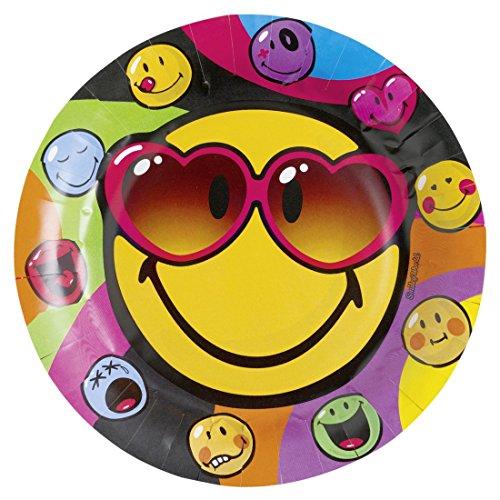 Assiettes en carton smiley plats de fête 8 pcs . D23 cm Soucoupes en papier émoticône assiettes jetables décoration de table pour célébration enfant accessoire de déco rigolote anniversaire bambins