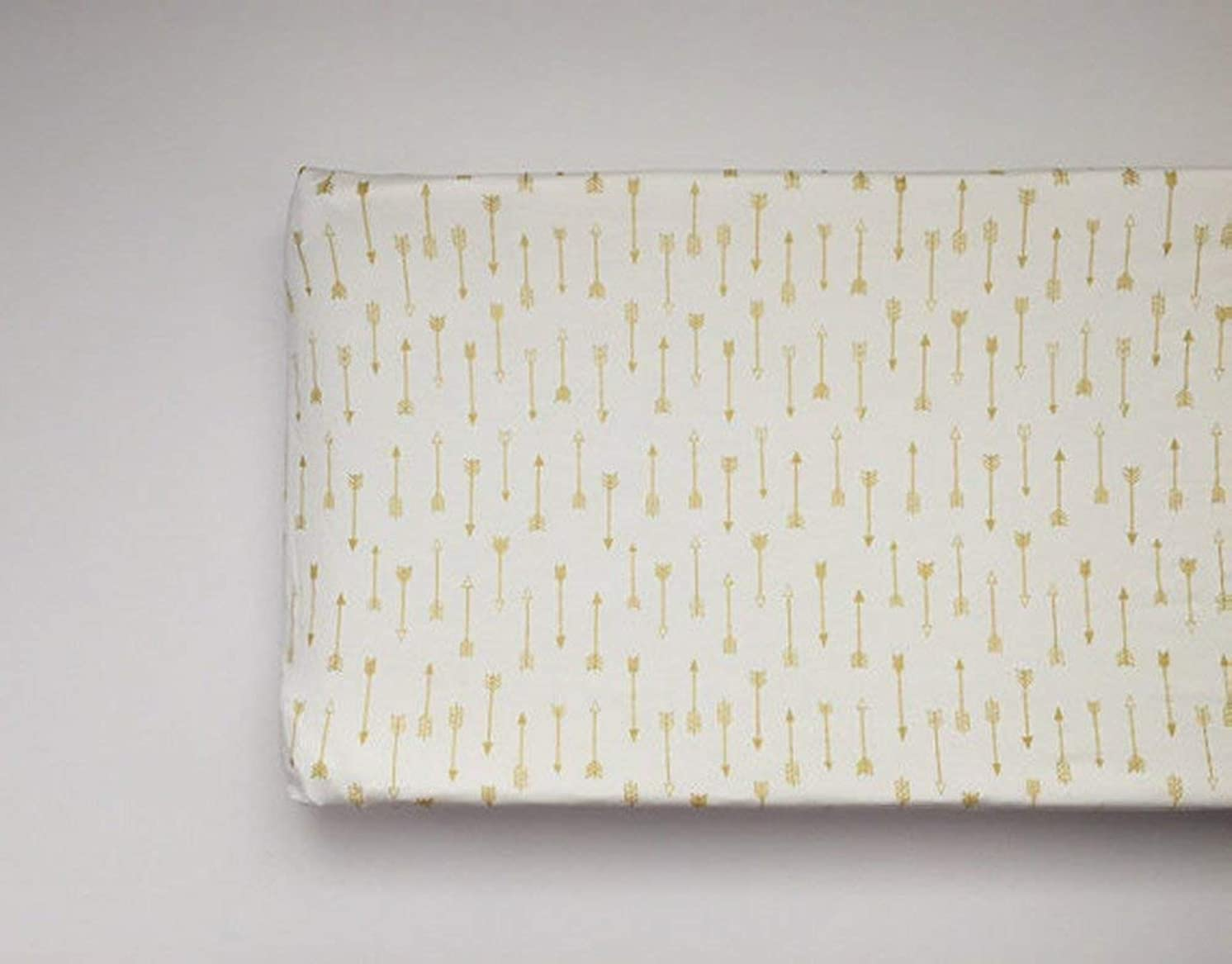 Changing Pad Cover - White with Gold Arrows